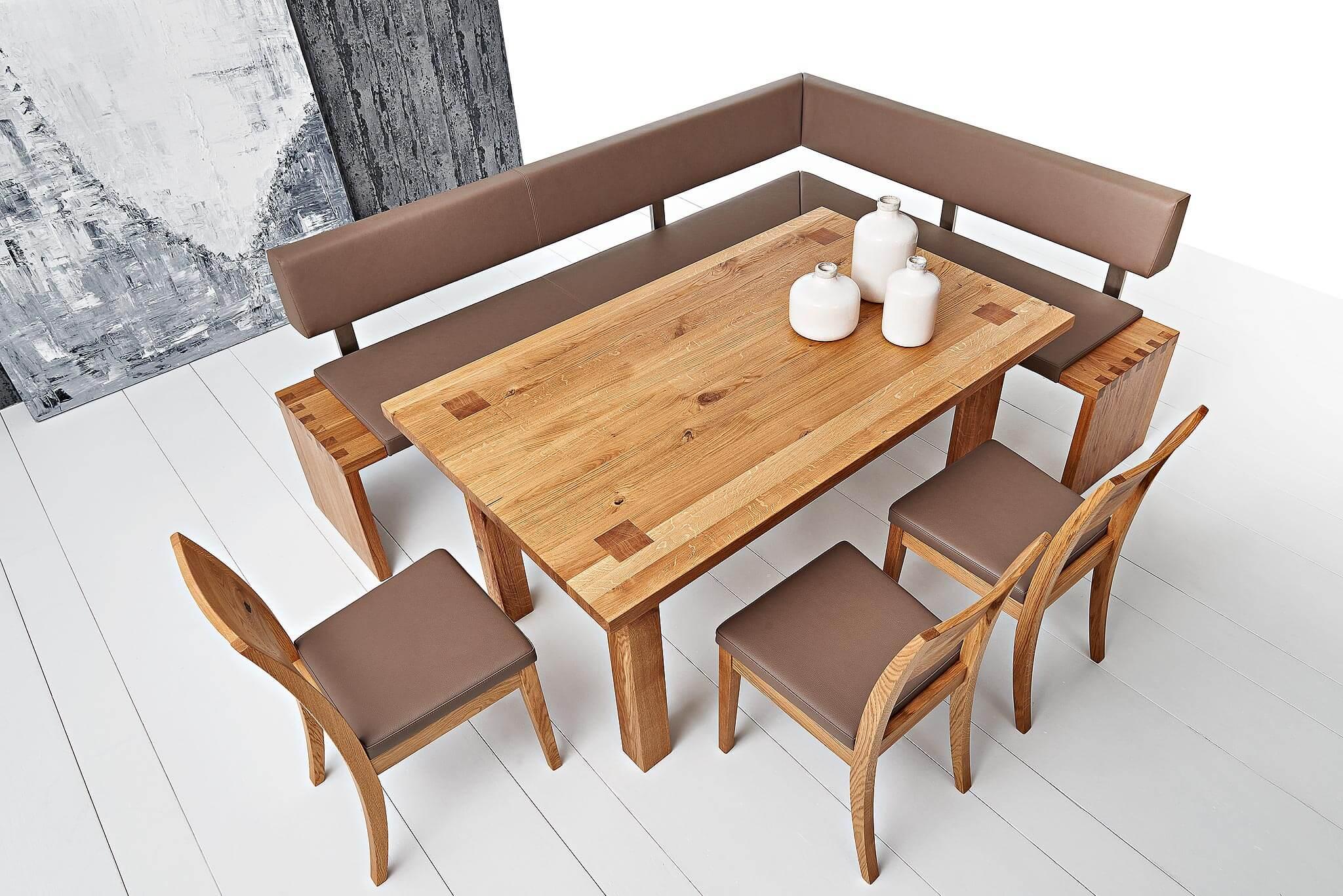 Quadra Esszimmer mit Eckbank in Holz und Leder